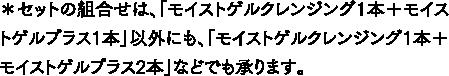 *セットの組合せは、「モイストゲルクレンジング1本+モイストゲルプラス1本」以外にも、「オイストゲルクレンジング1本+モイストゲルプラス2本」などでも承ります。